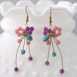 Brass Amethyst, Quartz and Turquoise Abstract Star Cluster Earrings (Thailand)