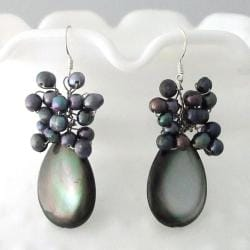 Sterling Silver Grey Shell and FW Pearl Cluster Earrings (3-6 mm)(Thailand)