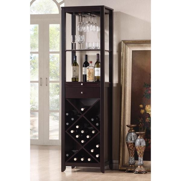 Austin Brown Wood Modern Wine Tower