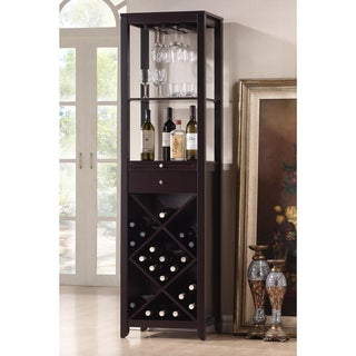 Baxton Studio Aineias Modern and Contemporary Dark Brown Wood Wine Tower
