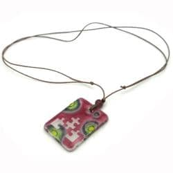 Pink Glass Puzzle Piece Necklace (Chile)