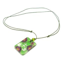 Green Glass Puzzle Piece Necklace (Chile)