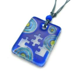 Blue Glass Puzzle Piece Necklace