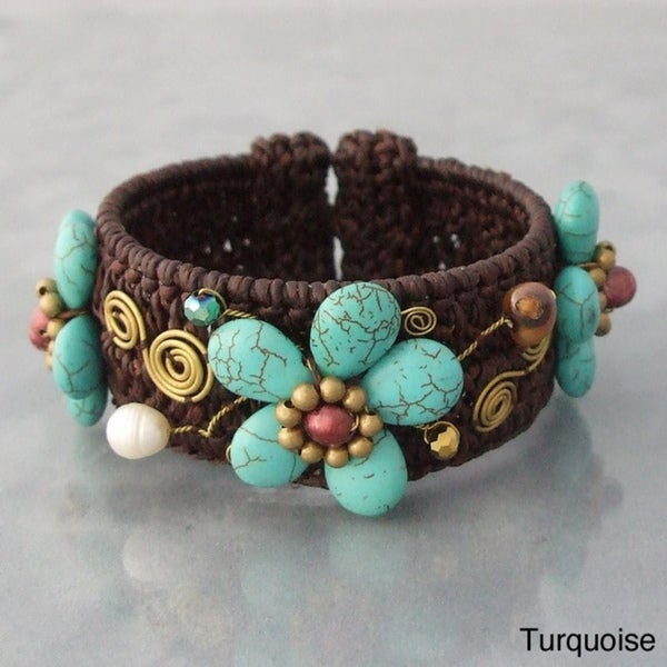 Gemstone and FW Pearl Floral Woven Cuff Bracelet (5-8 mm)(Thailand)