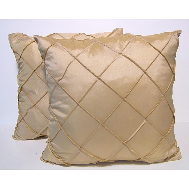 Dior Ivory Stitched Diamond Decorative Pillows (Set of 2)