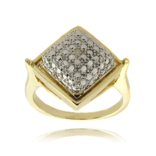 Finesque 14-karat Gold Overlay with Genuine Diamond Accent Square Ring