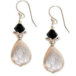 Misha Curtis Sterling Silver Black Crystal Teardrop Earrings