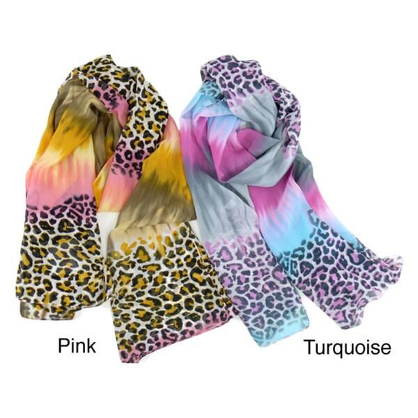 LA77 Cheetah/Tie-Dye Mixed Print Scarf