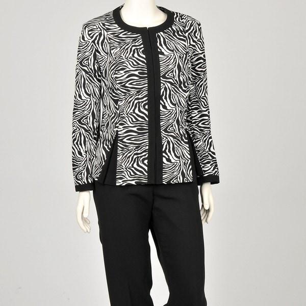 John Meyer Women's Plus Size Zebra Pant Suit