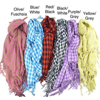 Checkered Print Square Scarf