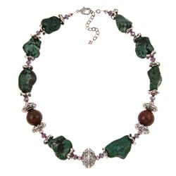Pearlz Ocean Silvertone Howlite, Jasper and Glass Necklace