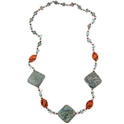 Pearlz Ocean Silvertone Blue Resin and Glass Necklace