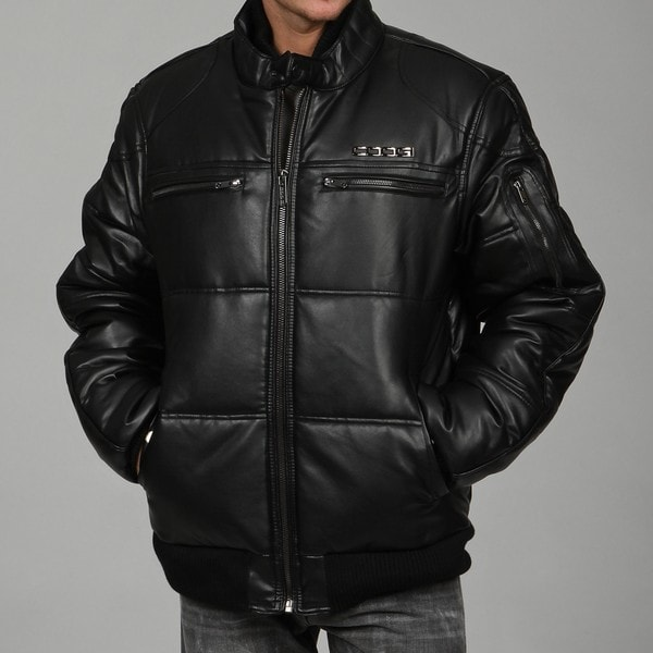 Coogi Men's Black Faux-leather Puffer Bomber Jacket - Overstock
