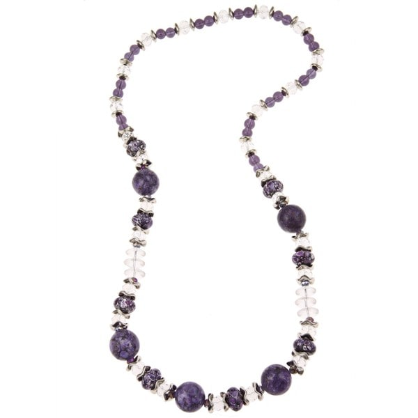 Pearlz Ocean Purple Resin and White Glass Journey Necklace