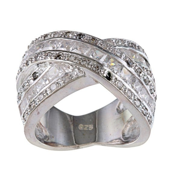 Sterling Silver Clear Cubic Zirconia Criss-cross Ring
