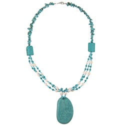 Pearlz Ocean Turquoise Howlite, FW Pearl and Resin Bead Necklace (5-7 mm)