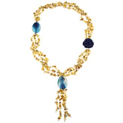 Pearlz Ocean Golden Opal, Agate and Freshwater Pearl Necklace