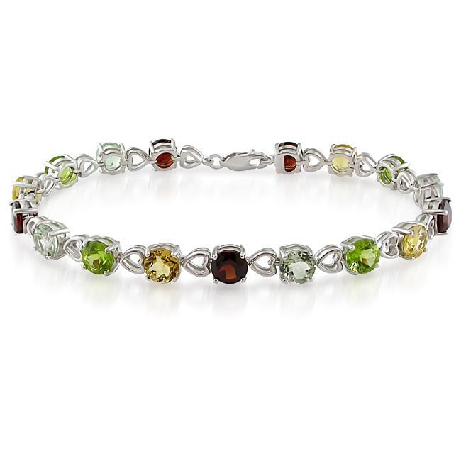 Miadora Sterling Silver Multi-gemstone Tennis Bracelet