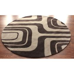 nuLOOM Handmade Pino Geometric Maze Brown Round Rug (6' Round)