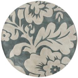 Handmade Alexa Pino Floral Slate Round Rug (6' Round)