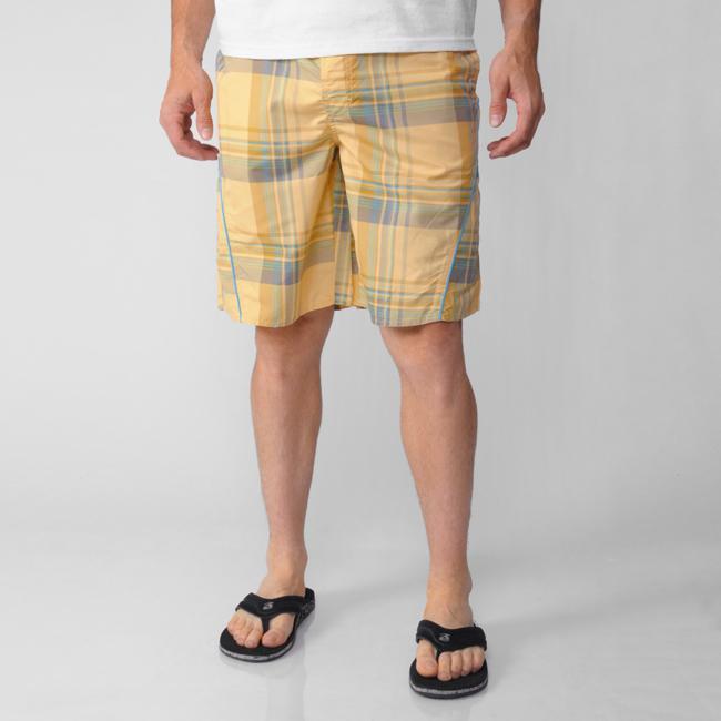 Island Joe Men's Yellow Plaid Print Swim Shorts