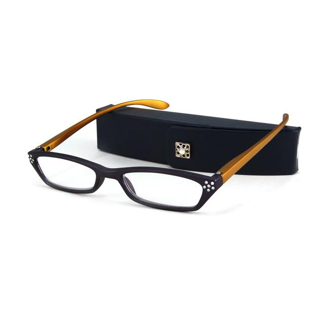 Urban Eyes Women's Crystal Navy Reading Glasses