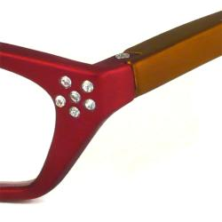 Urban Eyes Women's Crystal Red Reading Glasses