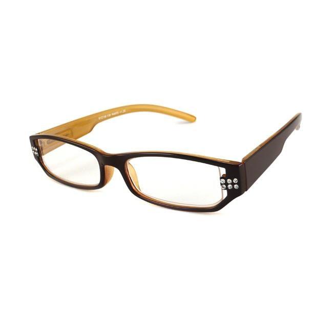 Urban Eyes Women's Crystal Butterscotch Reading Glasses