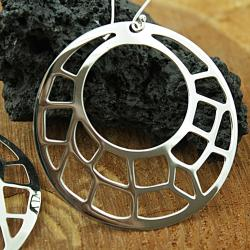 Sterling Silver Large Mosaic Cut out Earrings (Mexico)