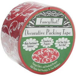 Decorative Red Scroll 1.875-inch Wide 25-yard Roll Packing Tape