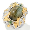 Michael Valitutti Two-tone Labradorite and Green Apatite Ring