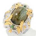 Michael Valitutti Two-tone Labradorite and Green Apatite Ring