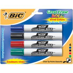 Bic Great Erase Bold Chisel Tip Dry Erase Markers (Pack of 4)