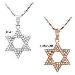 Sterling Silver Clear Cubic Zirconia Star of David Necklace