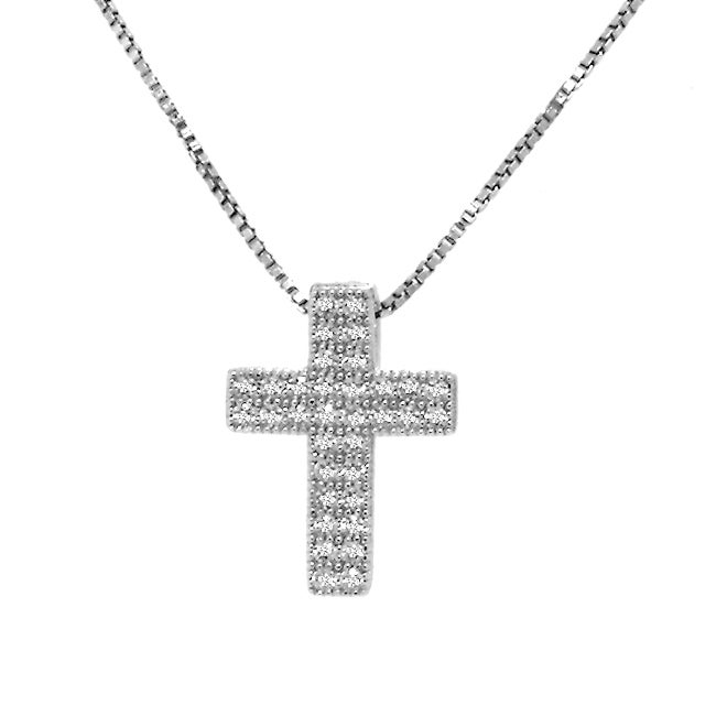 Silver Cubic Zirconia Cross Necklace