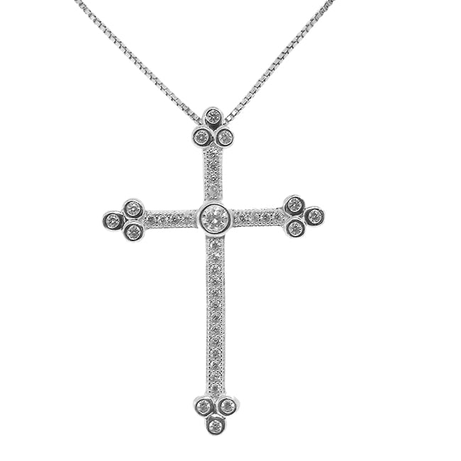 Sterling Silver Clear Cubic Zirconia Cross Necklace