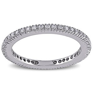 Miadora 14k White Gold 1/3ct TDW Stackable White Diamond Band (G-H, SI1)