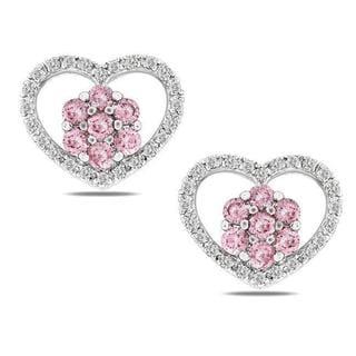 Miadora 14k Gold 3/5ct TDW Pink and White Diamond Heart Earrings (G-H, I1-I2)