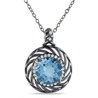 Miadora Sterling Silver Blue Topaz and 1/6ct TDW Diamond Necklace (G-H, I3)