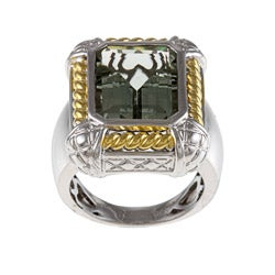 Oro Leoni Sterling Silver and Gold Green Amethyst Ring