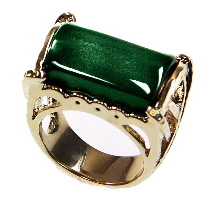 Adee Waiss 18k Gold Overlay East/ West Green Lucite Ring