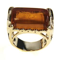 Adee Waiss 18k Gold Overlay East/ West Honey Lucite Ring