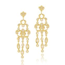 Icz Stonez Goldplated Cubic Zirconia Chandelier Earrings