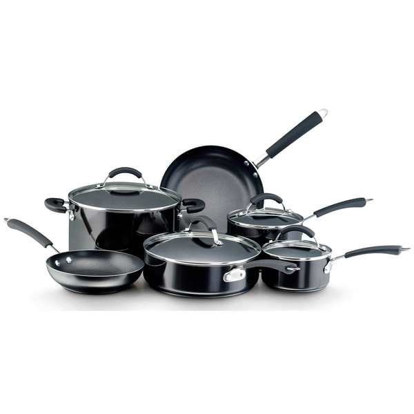 Farberware Millennium 12-piece Porcelain Nonstick Black Cookware Set