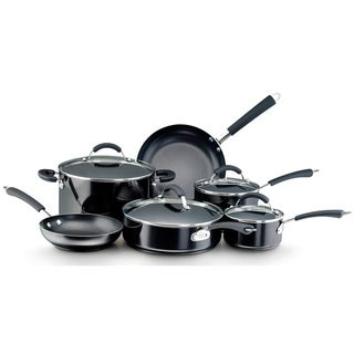 Farberware Millennium 12-piece Set Porcelain Nonstick Cookware, Black