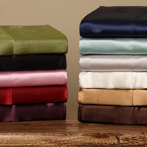 Silky Satin Twin/ Full-size Satin Sheet Set (As Is Item)