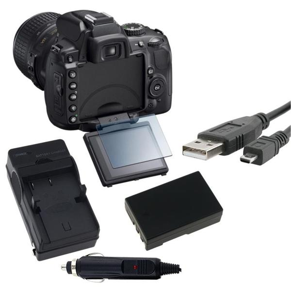 INSTEN Clear Screen Protector/ Battery/ Charger Set/ USB Cable for Nikon D5000