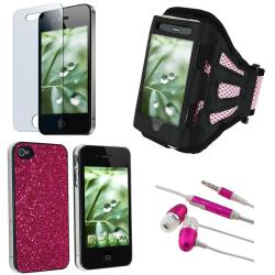 BasAcc Hot Pink Case/ Protector/ Headset/ Armband for Apple iPhone 4