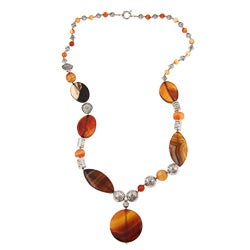 Pearlz Ocean Silvertone Orange and Red Agate Necklace