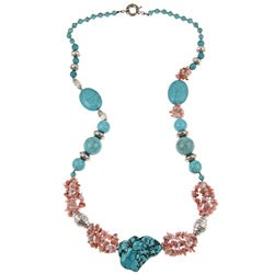Pearlz Ocean Turquoise Howlite and Pink Opal 30-inch Necklace